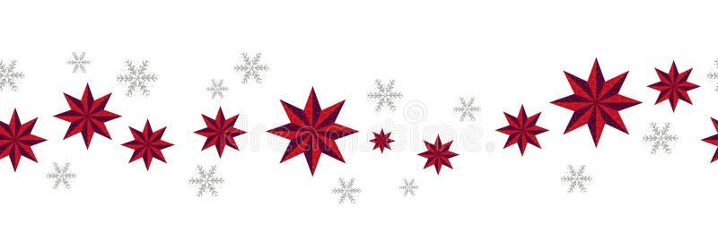 Modelo incons?til de la decoraci?n de la Navidad Estrellas rojas de la frontera del Año Nuevo y copos de nieve de plata en el fon ilustración del vector