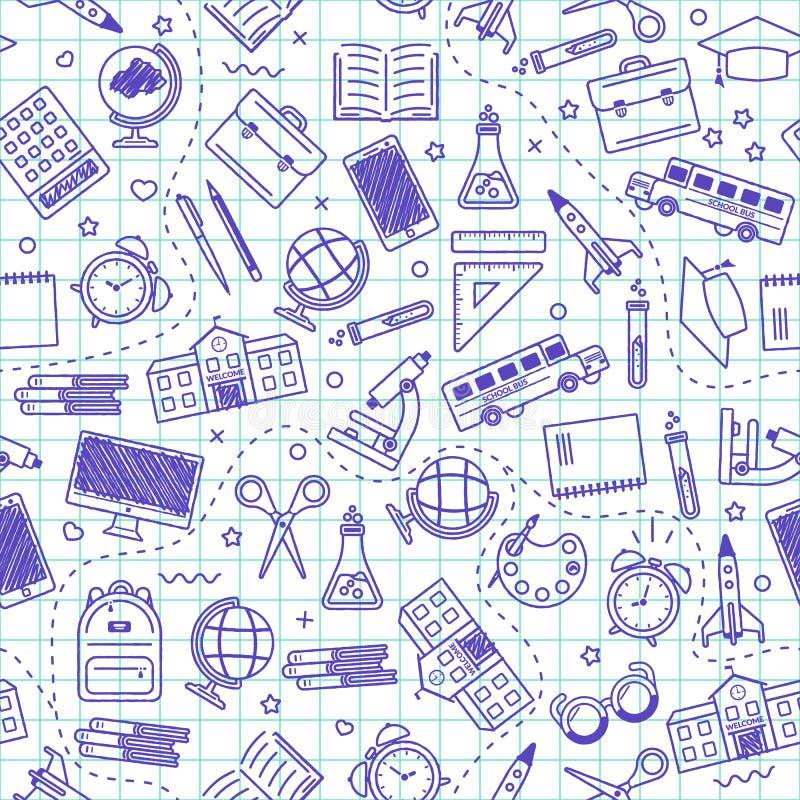 Modelo incons?til de la escuela De nuevo a escuela Iconos azules para la educación en el fondo blanco libre illustration