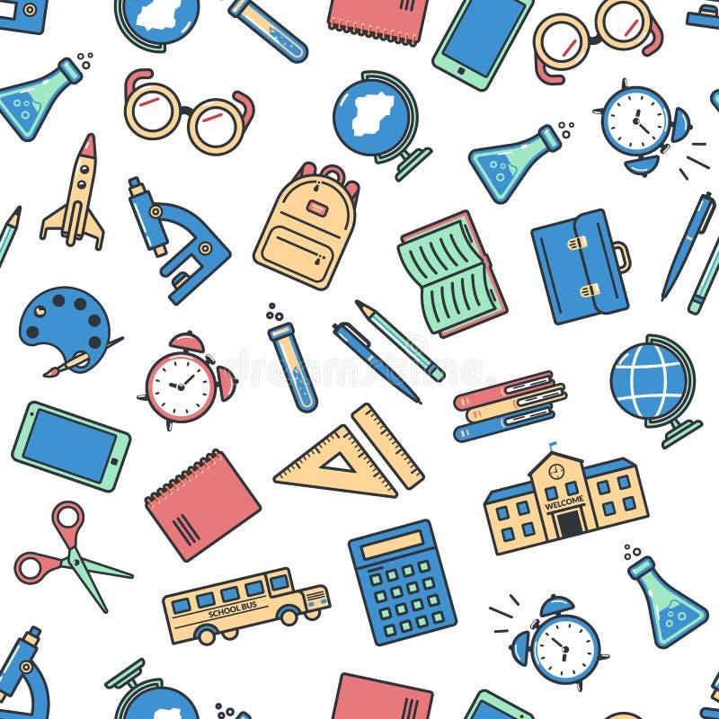 Modelo incons?til de la escuela De nuevo a escuela Iconos coloridos para la educación en el fondo blanco stock de ilustración