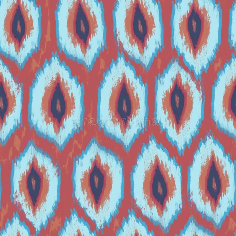 Modelo incons?til de la materia textil de Ikat Adornos étnicos de la acuarela: ornamento rombal libre illustration