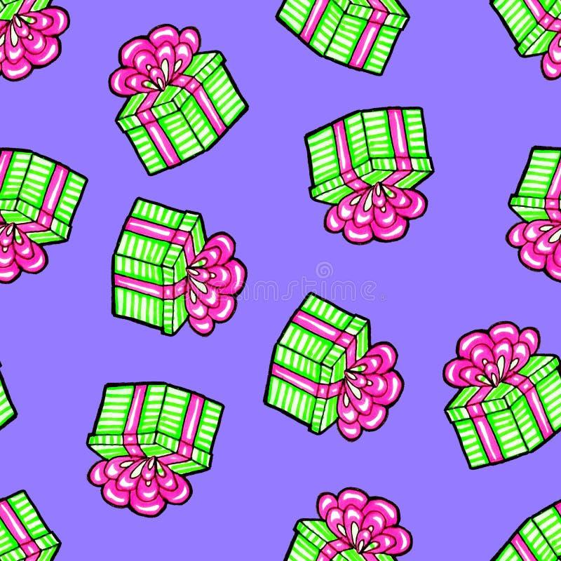Modelo incons?til de la Navidad dibujado a mano Regalo verde con la cinta rosada en un fondo azul Feliz A?o Nuevo ilustración del vector