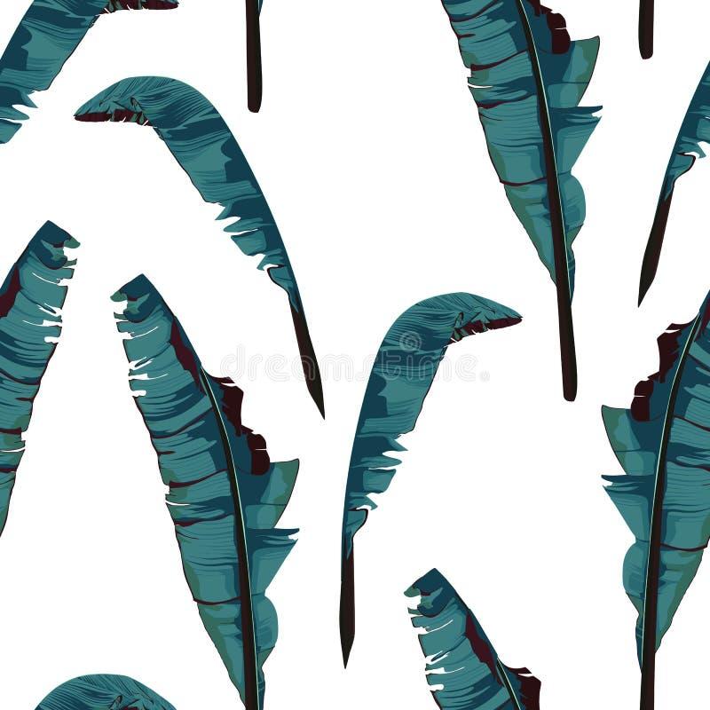 Modelo incons?til de la pintura tropical del verano con la hoja del pl?tano de la palma stock de ilustración