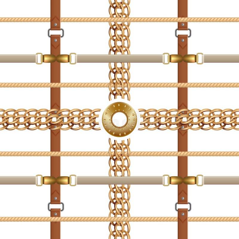 Modelo incons?til de las cadenas y de las correas Ornamento barroco con las trenzas y los muebles de oro Hebillas y bordado del v libre illustration