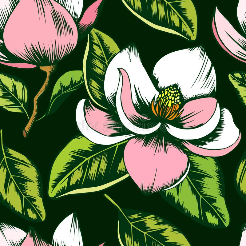 Modelo incons?til de las flores blancas y rosadas de la magnolia ilustración del vector