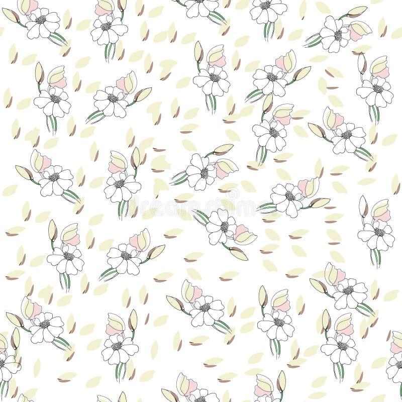 Modelo incons?til de las flores para el papel, la impresi?n de materia textil y los proyectos Web Fondo de marfil libre illustration