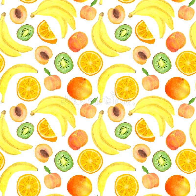 Modelo incons?til de las frutas tropicales de la acuarela Plátano exhausto de la mano, rebanada del kiwi, melocotón, naranja aisl stock de ilustración