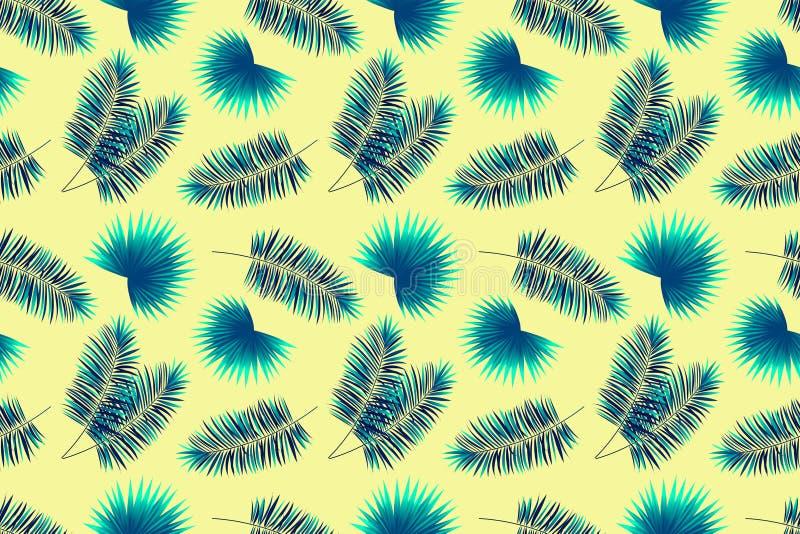 Modelo incons?til de las hojas de las palmas Fondo del verano con las plantas tropicales Papel pintado del vector de Tepmplate Co libre illustration