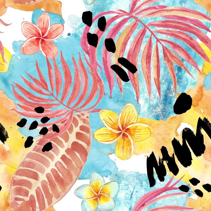 Modelo incons?til de las hojas tropicales de la acuarela Hoja de palma pintada a mano, flores ex?ticas del plumeria y follaje en  stock de ilustración