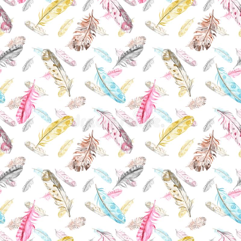 Modelo incons?til de las plumas de p?jaro de la acuarela en colores en colores pastel en el fondo blanco E stock de ilustración