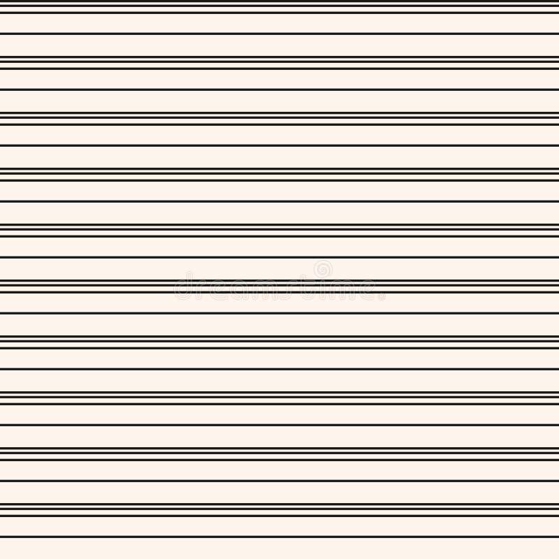 Modelo incons?til de las rayas horizontales Línea blanco y negro simple textura del vector stock de ilustración