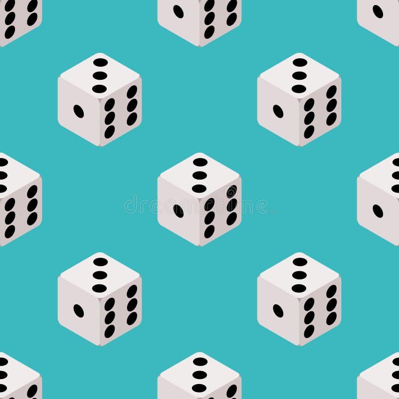 Modelo incons?til de los dados Juego de mesa que repite diseño papel pintado de los cubos en fondo azul Casino, contexto de juego ilustración del vector