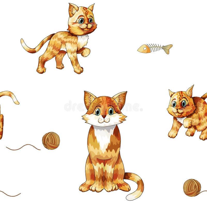 Modelo incons?til de los ni?os con los gatos coloridos que se sientan lindos Gatitos anaranjados del garabato stock de ilustración