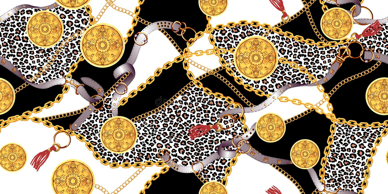 Modelo incons?til de moda con las cadenas de oro y las correas, remiendo para la impresi?n, tela stock de ilustración