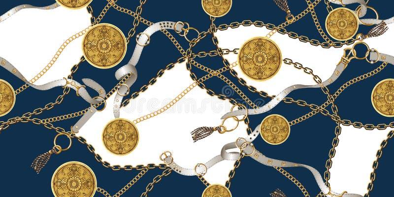 Modelo incons?til de moda con las cadenas de oro y las correas, remiendo para la impresi?n, tela ilustración del vector