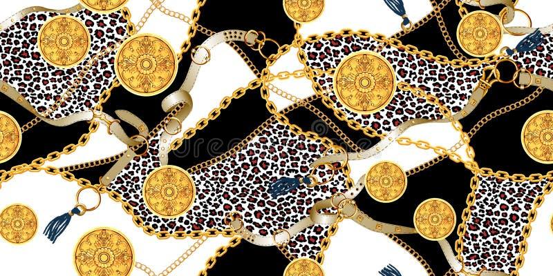 Modelo incons?til de moda con las cadenas de oro y las correas, remiendo para la impresi?n, tela libre illustration