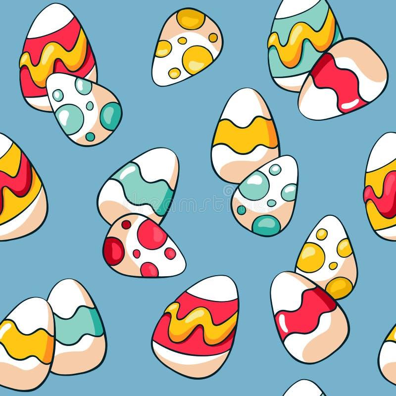 Modelo incons?til de Pascua con los huevos coloridos en fondo azul Huevos de Pascua exhaustos del garabato de la mano Fondo de lo ilustración del vector