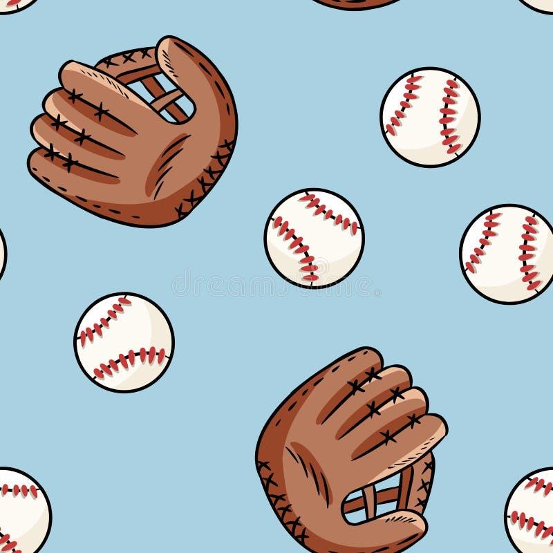 Modelo incons?til del b?isbol Bolas exhaustas y guantes de la mano linda del garabato en la teja azul de la textura del fondo stock de ilustración