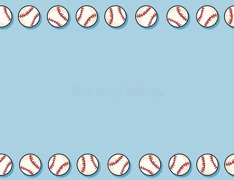 Modelo incons?til del b?isbol Plantilla de la letra Béisboles exhaustos de la mano linda del garabato en la teja azul de la textu libre illustration