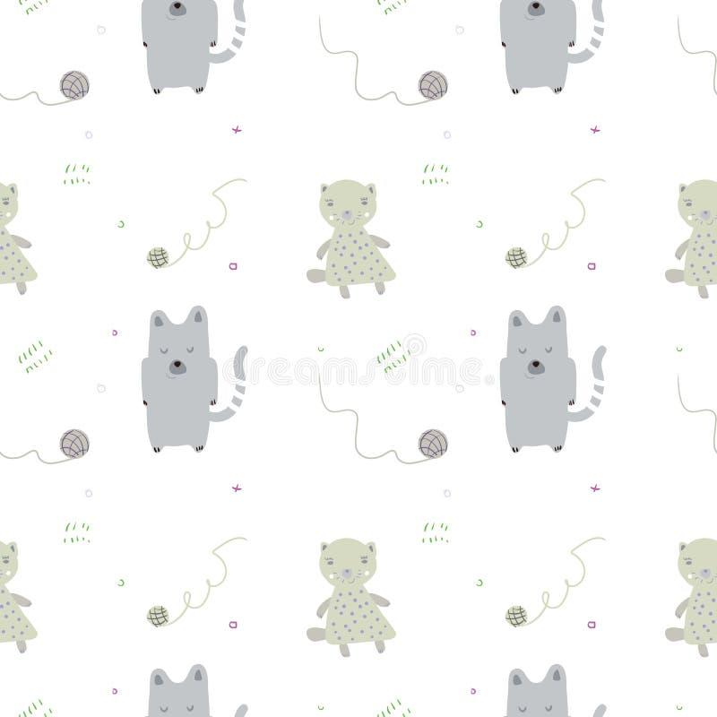 Modelo incons?til del beb? con los gatos y las bolas lindos Fondo infantil del vector creativo para la tela, materia textil, pape ilustración del vector