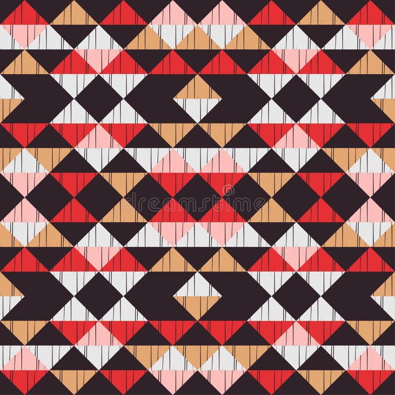 Modelo incons?til del boho ?tnico Bordado en tela Textura del remiendo weaving Ornamento tradicional Modelo tribal Adorno popular ilustración del vector