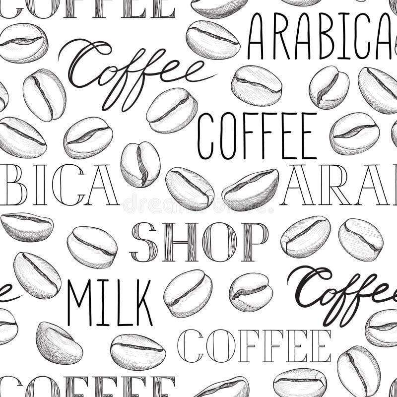 Modelo incons?til del caf? Granos de caf? y poner letras a la mano del CAF? foto de archivo libre de regalías