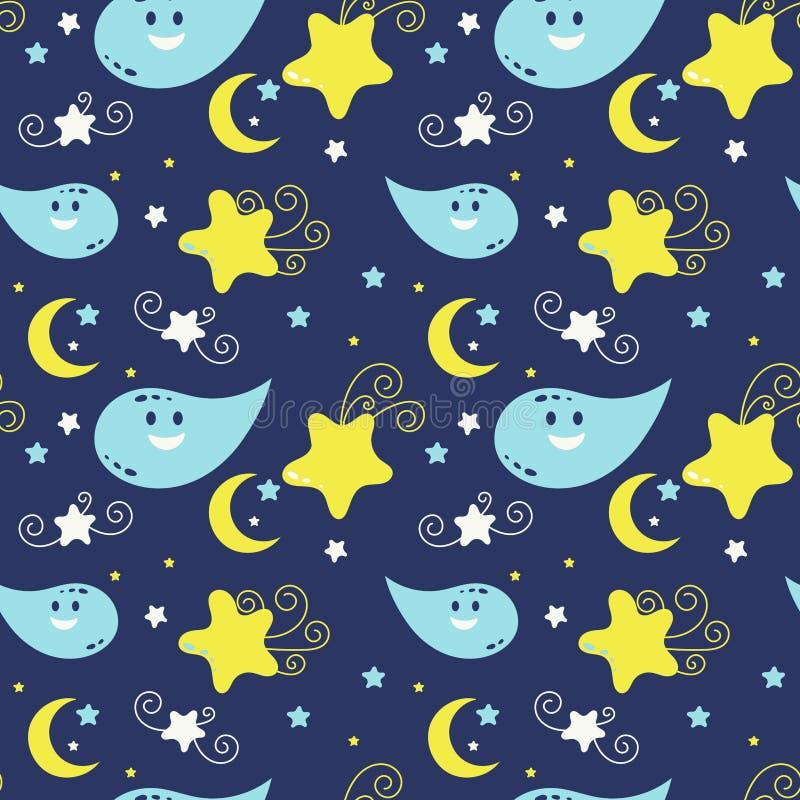 Modelo incons?til del garabato lindo Luna y estrellas ilustración del vector
