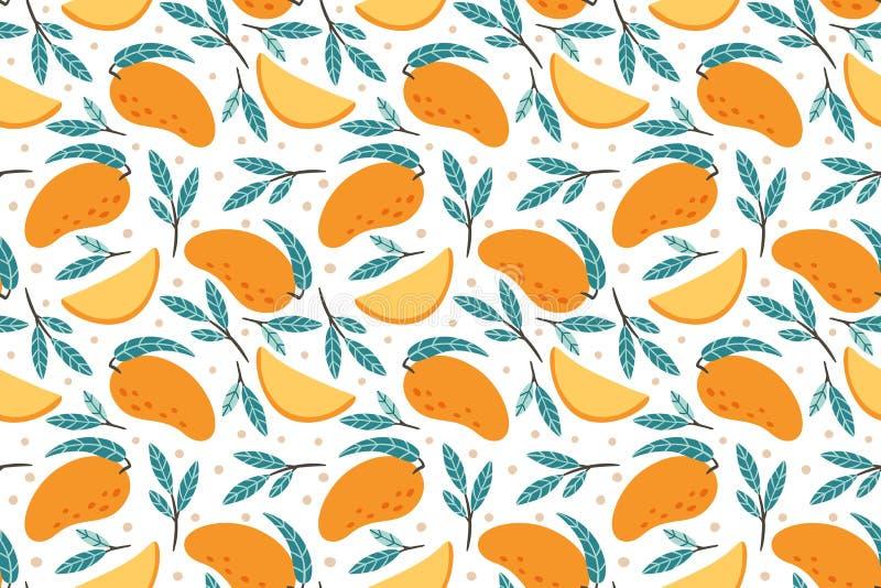 Modelo incons?til del mango Mano dibujada para garabatear el ejemplo dulce gastr?nomo del fondo del vector de los mangos stock de ilustración