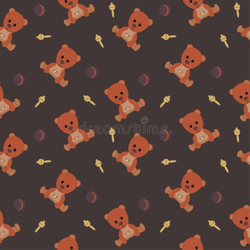 Modelo incons?til del oso de Brown Poco bola y traqueteo del oso Fondo oscuro Empaquetado, telas, scrapbooking y envoltorio para  stock de ilustración
