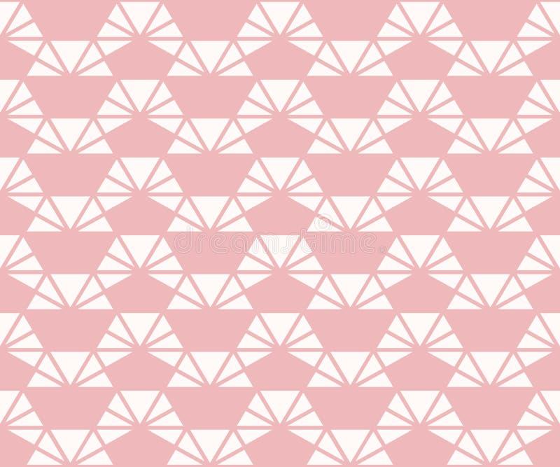 Modelo incons?til del tri?ngulo Textura geom?trica abstracta del vector Color de rosa y blanco libre illustration