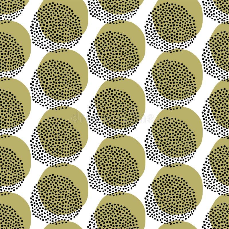 Modelo incons?til del vector Círculo exhausto de la semilla de la mano geométrica moderna Repetición del fondo manchado abstracto libre illustration