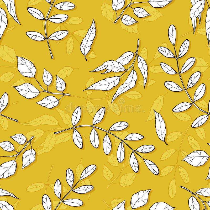 Modelo incons?til del vector con diversas hojas abstractas Fondo del otoño con las sombras de ocre ilustración del vector