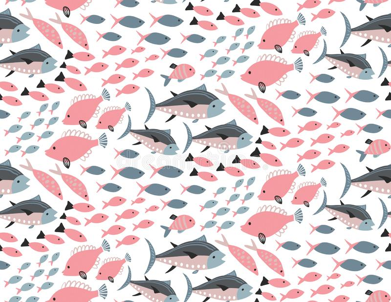 Modelo incons?til del vector con diversos pescados ex?ticos coloridos stock de ilustración