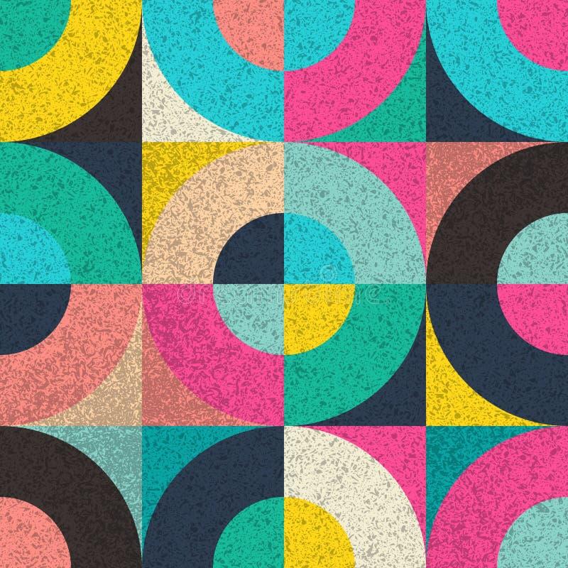 Modelo incons?til del vector con formas y textura geom?tricas coloridas del grunge stock de ilustración