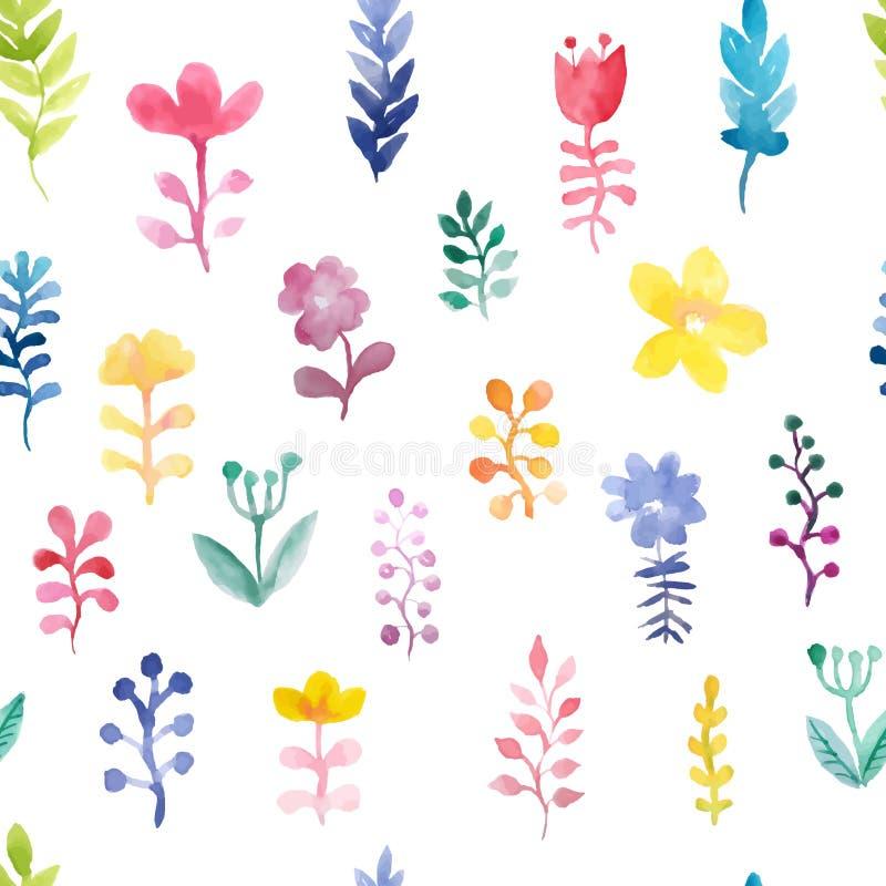 Modelo incons?til del vector con las flores y las plantas Decoración floral de la acuarela brillante Fondo floral original modelo foto de archivo libre de regalías