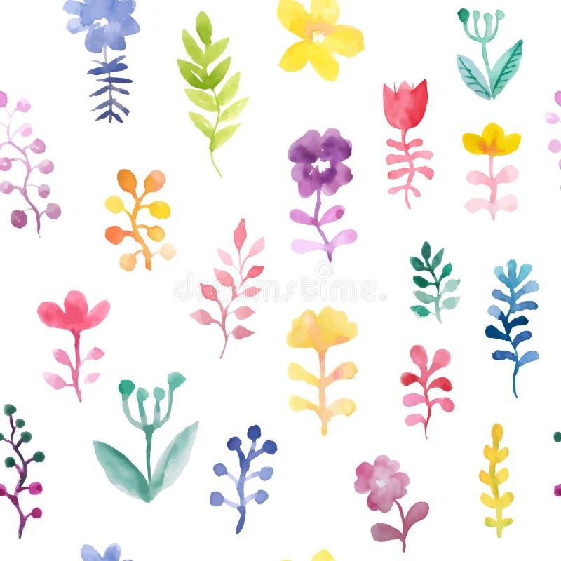 Modelo incons?til del vector con las flores y las plantas Decoraci?n floral Fondo floral original Modelo de la materia textil fotografía de archivo libre de regalías
