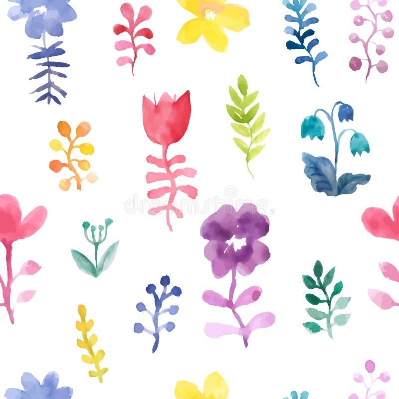 Modelo incons?til del vector con las flores y las plantas Decoraci?n floral Fondo floral original Modelo para las materias textil libre illustration