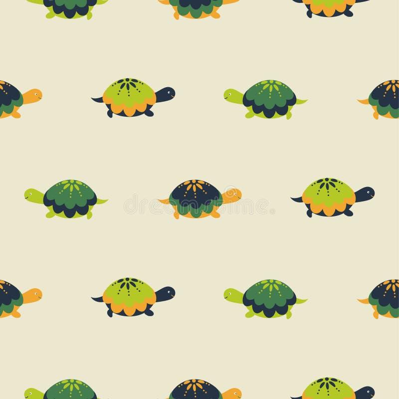 Modelo incons?til del vector de la tortuga Fondo de las tortugas de la diversión del verde del estilo de la historieta stock de ilustración