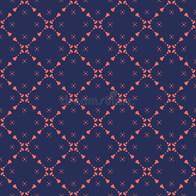Modelo incons?til del vector floral geom?trico del extracto en color azul marino y coralino stock de ilustración