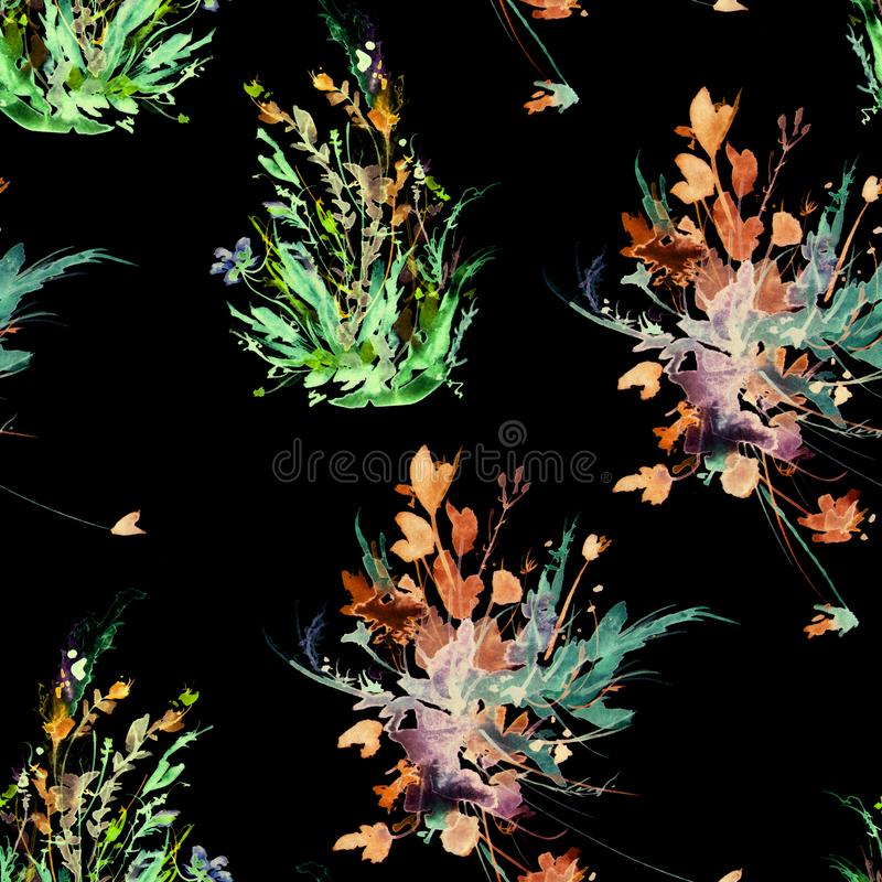 Modelo incons?til del vintage de la acuarela, estampado de flores, rosa, rosas, amapola, brotes Plantas, flores, hierba en hierba stock de ilustración
