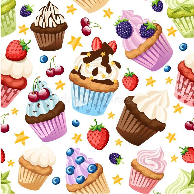 Modelo incons?til E Sistema de tortas dulces Postre colorido plano stock de ilustración