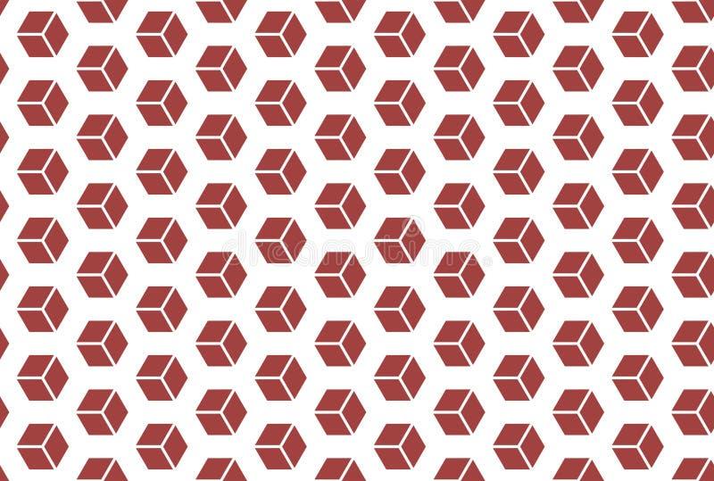 Modelo incons?til El fondo blanco, formó los cubos isométricos en color rojo stock de ilustración