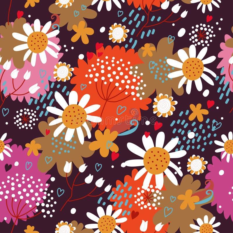 Modelo incons?til floral con las flores y las hojas libre illustration