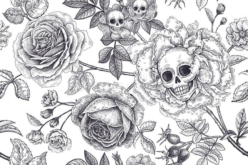 Modelo incons?til floral con los s?mbolos del d?a muertos Cr?neos, flores color de rosa florecientes y follaje libre illustration