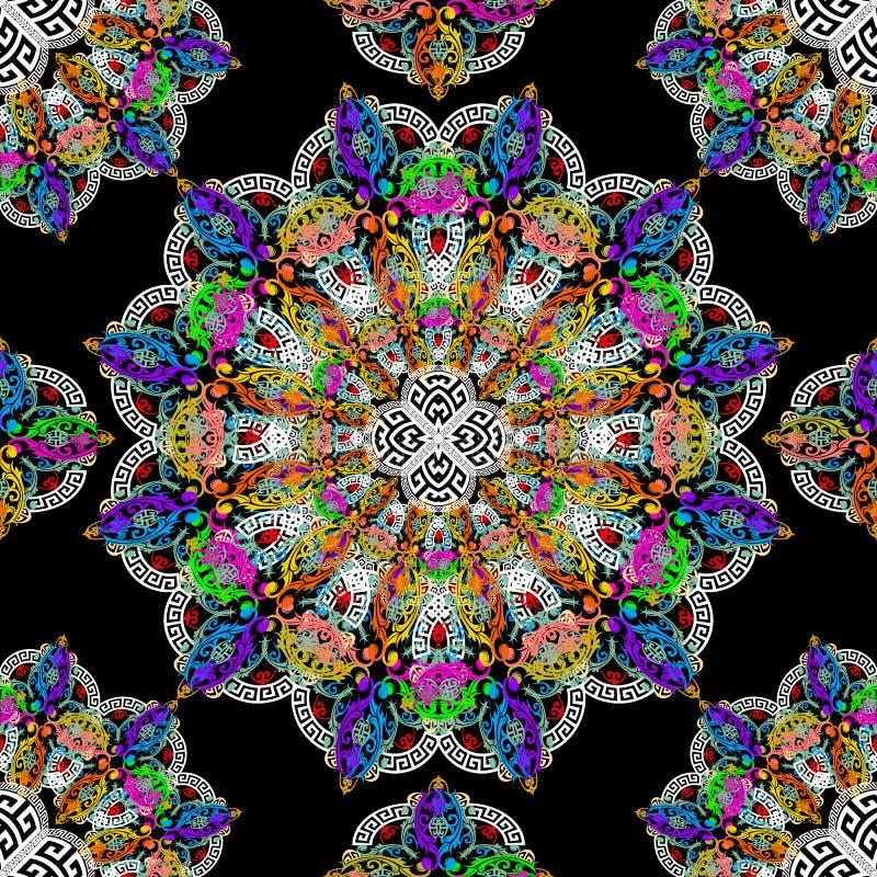 Modelo incons?til floral de las mandalas Fondo modelado colorido del vector Flores del vintage, hojas La ronda prospera la mandal libre illustration