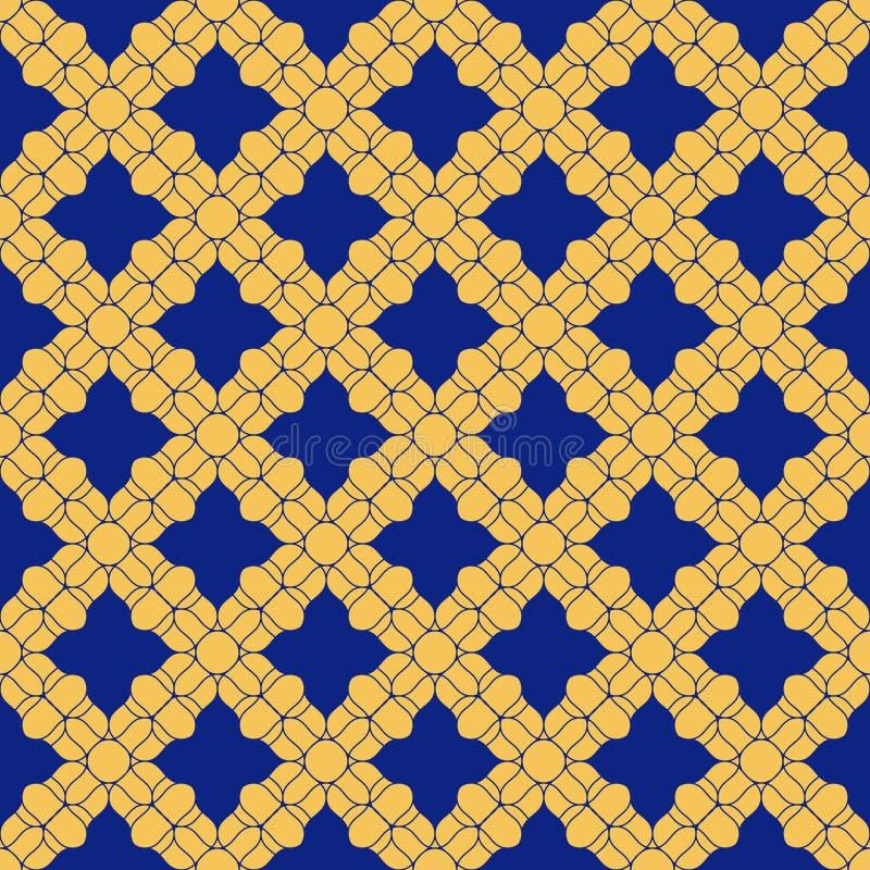 Modelo incons?til floral de oro del extracto del vector Ornamento azul y amarillo profundo stock de ilustración