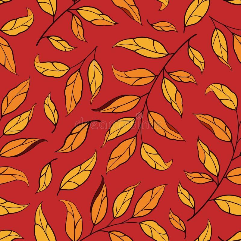 Modelo incons?til floral Hojas de otoño del vector con las ramas en fondo rojo libre illustration