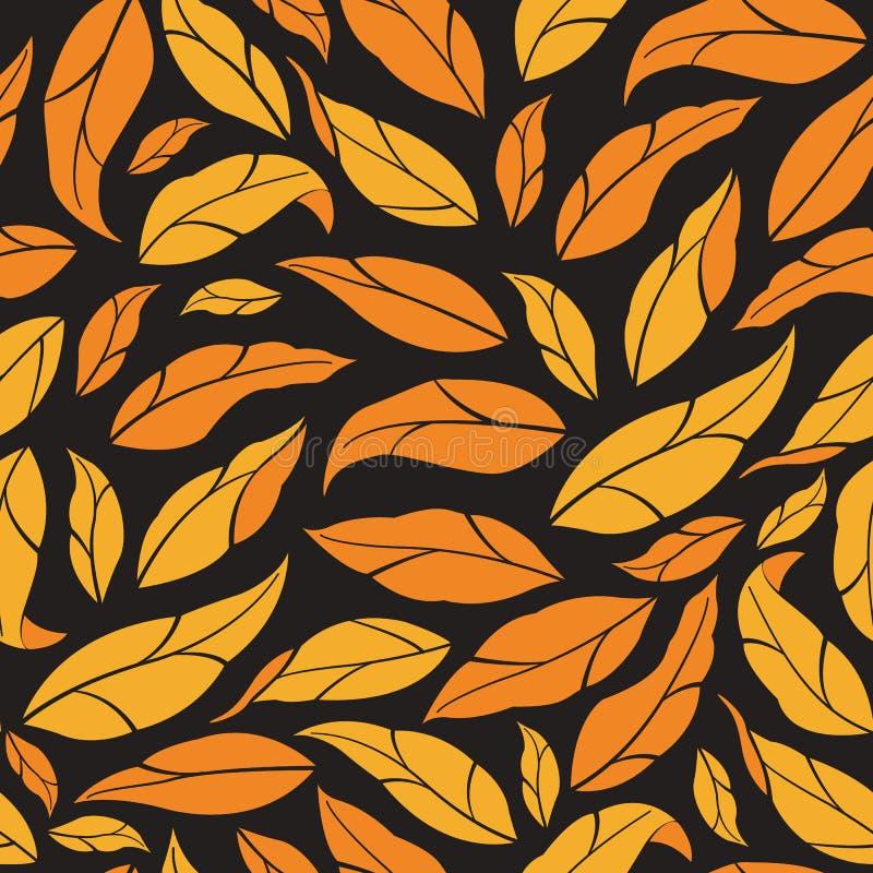 Modelo incons?til floral Hojas de otoño del vector en fondo negro libre illustration