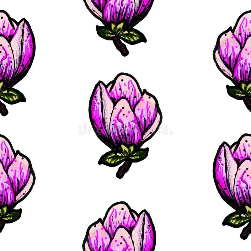Modelo incons?til floral Magnolia floreciente en un fondo blanco Impresi?n para la tela y otras superficies Ilustraci?n de la tra stock de ilustración