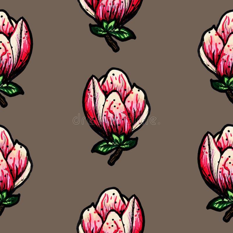 Modelo incons?til floral Magnolia floreciente en un fondo oscuro Impresi?n para la tela y otras superficies Ilustraci?n de la tra libre illustration
