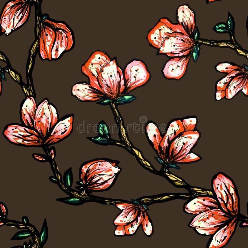 Modelo incons?til floral Magnolia floreciente en un fondo oscuro Impresi?n para la tela y otras superficies Ilustraci?n de la tra ilustración del vector